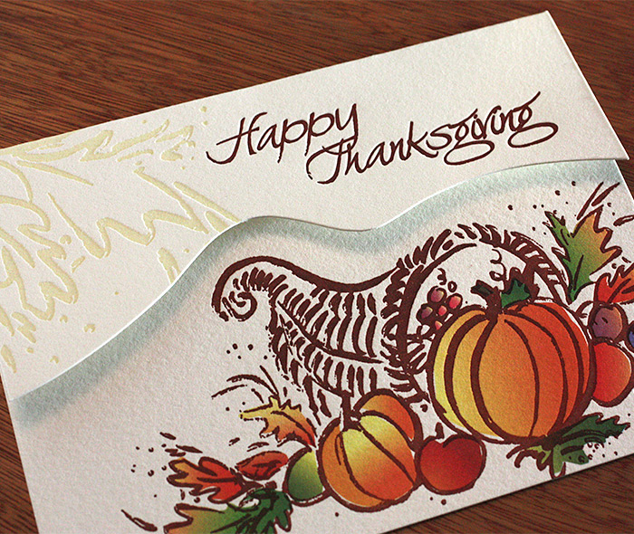 letterpress happy thanksgiving cornucopia greeting card