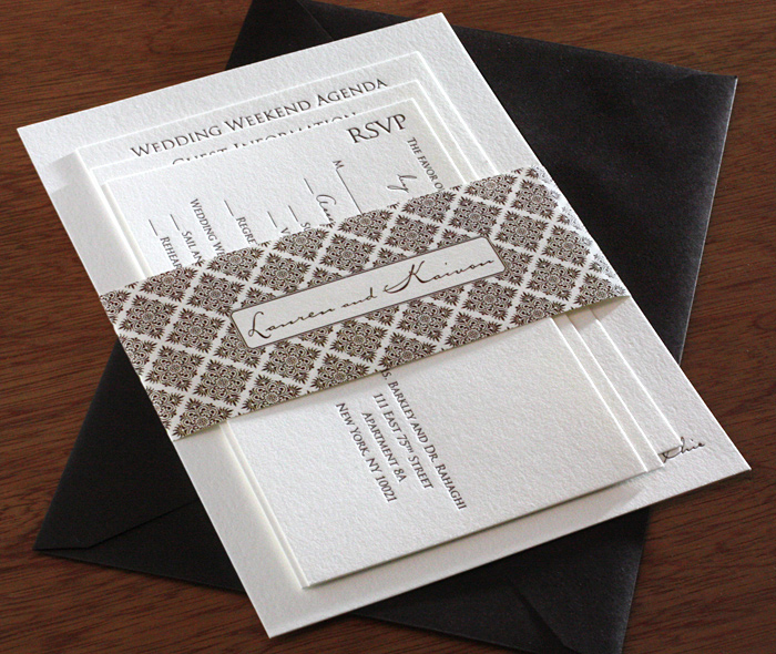 espresso brown geometric pattern custom name on formal event invitation cards belly band - Wedding Invitation Belly Band