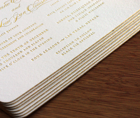 Invitation Customization: Edge Painting<br>  Edge Painting for Letterpress Invitations Photo