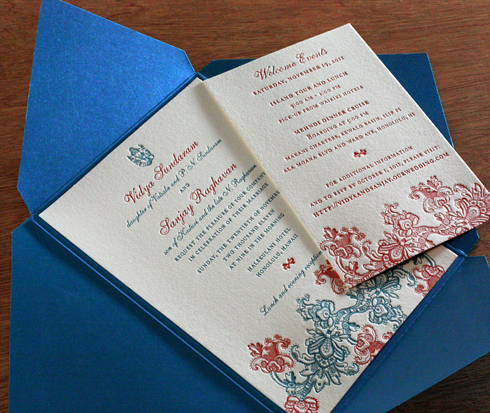 Enclosures for letterpress wedding invitations invitations by ajalon formal indian custom letterpress wedding invitation rsvp in blue folio enclosure with triangular flaps stopboris Choice Image