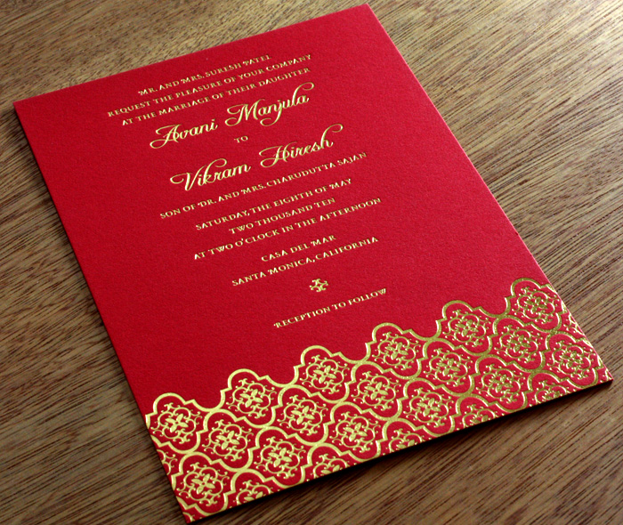 Foil Stamped Letterpress Wedding Invitations – Indian Traditional Wedding Cards