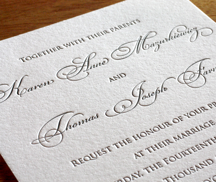 Customized Copperplate Script On Formal Custom Letterpress Wedding Invitation