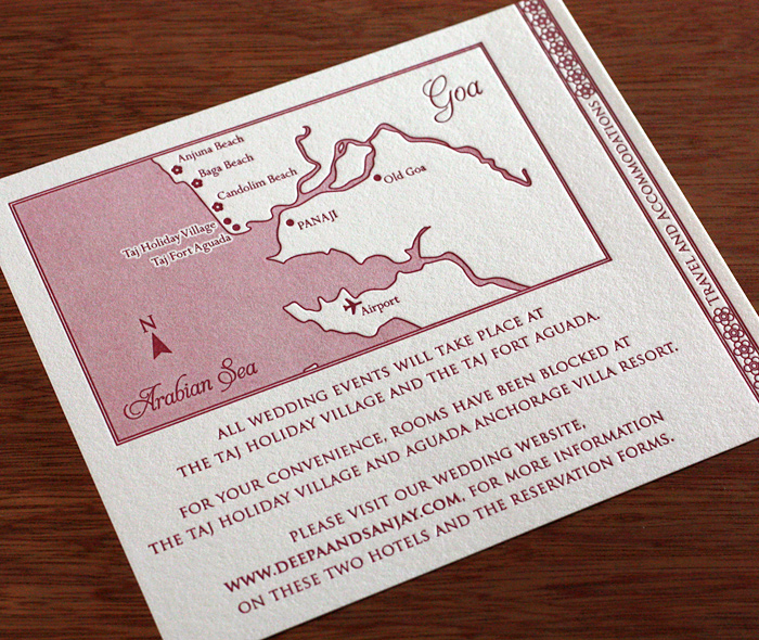 Custom Directions Map Card In Red Screened Letterpress For Exotic Destination Wedding