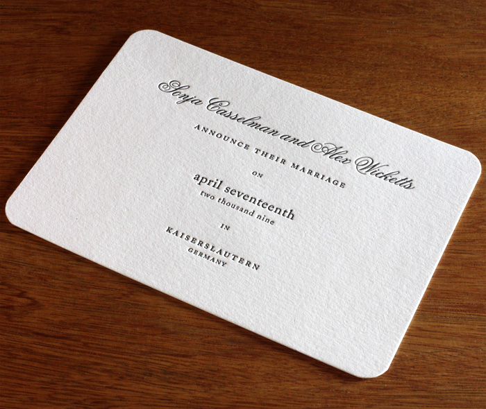 Formal Customized Letterpress Wedding Announcement With Elegant Rounded Corners
