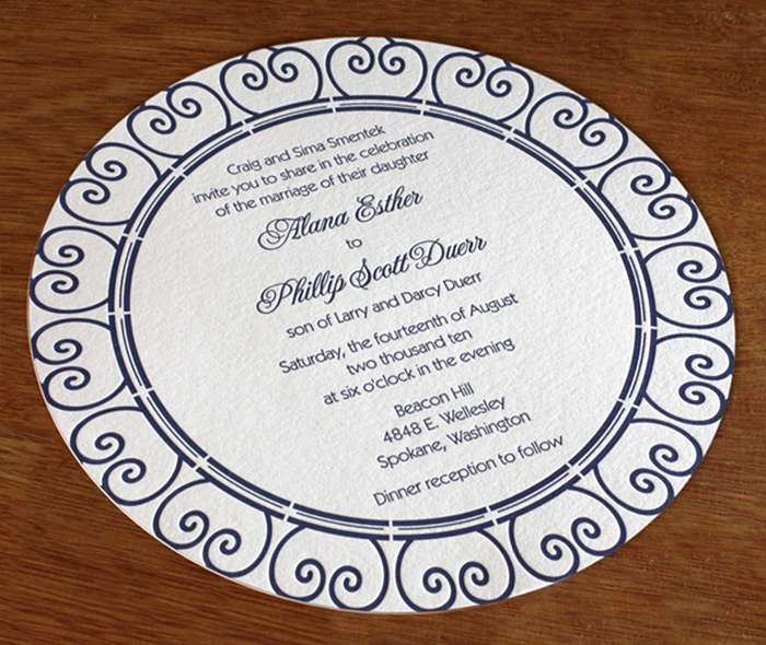 Mandala On Round Shaped Custom Letterpress Wedding Invitation