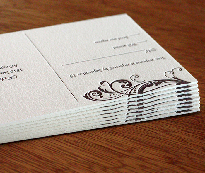 Double Thick Paper For Letterpress Wedding Invitations By Ajalon