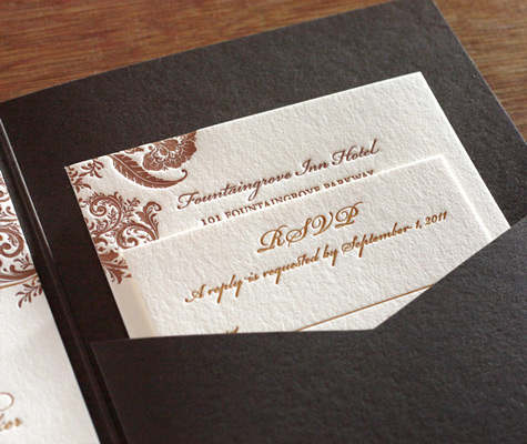 Letterpress Bilingual Wedding Invitations<br>  Wedding Invitations Printed in Two Languages Photo