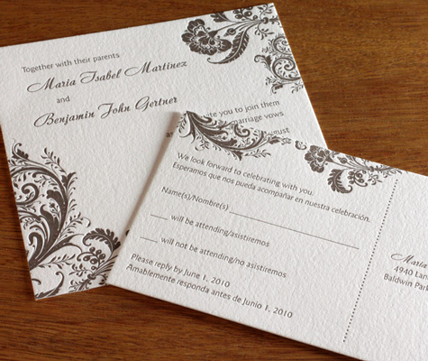 Allison letterpress wedding invitation design with meal selection symbols