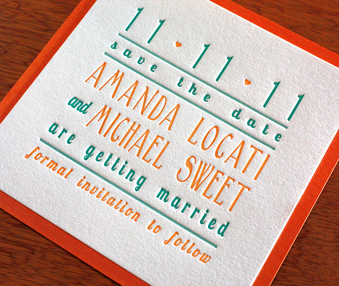 Orange U0026 Teal Modern Letterpress Wedding Invitation In 2nd Paper Layer