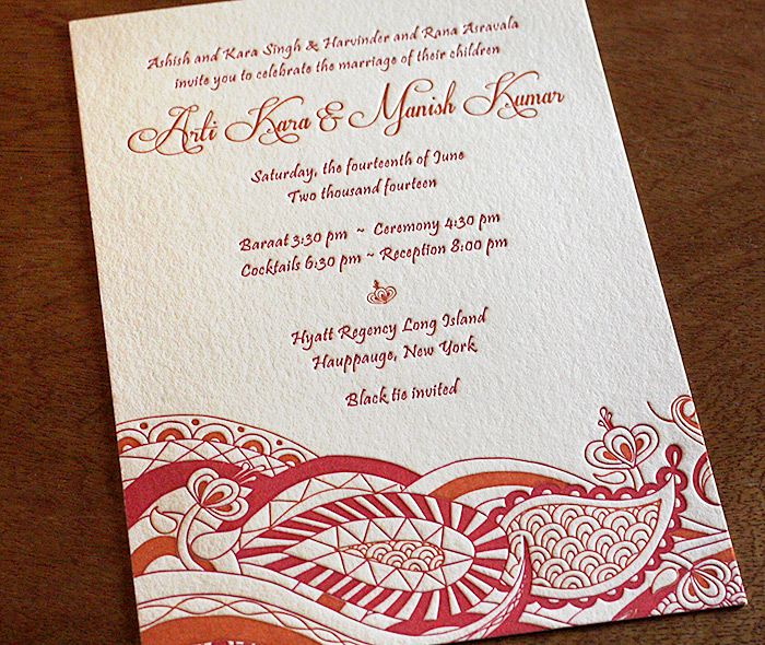 Arti south asian wedding invitation design letterpress wedding red and orange letterpress paisley indian wedding invitation stopboris Images