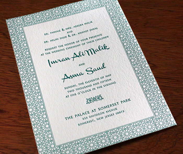 Formal wedding invitation design asma invitations by ajalon multicultural printed wedding invitation with geometric green design stopboris Images