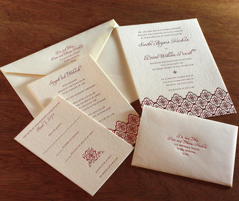 Avani Indian Letterpress wedding invitation card sangeet celebration