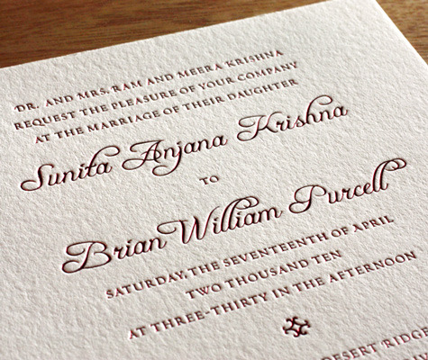 Avani Indian Letterpress Wedding Invitation Wording