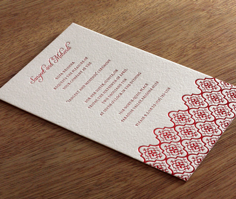 Avani Indian Wedding Card Sangeet Invitation Letterpress Wedding Invitation Design