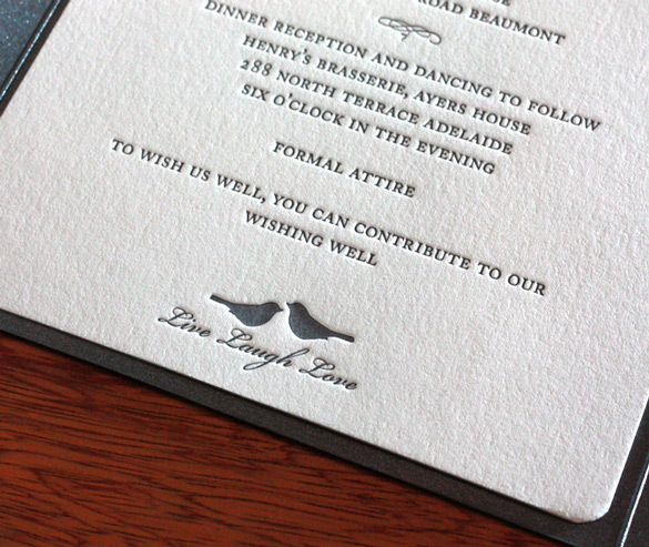 Wedding Gift Using Invitation : Beaumont in letterpress features love birds, and exudes class with the ...
