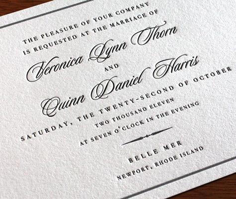 ... our classic border Belle Mer design for your wedding invitations