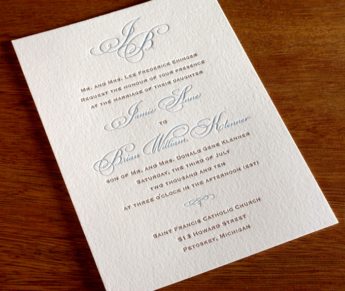 Monogram letterpress wedding invitation gallery black tie elegant blue brown wedding invitation with classic monogram reheart Choice Image
