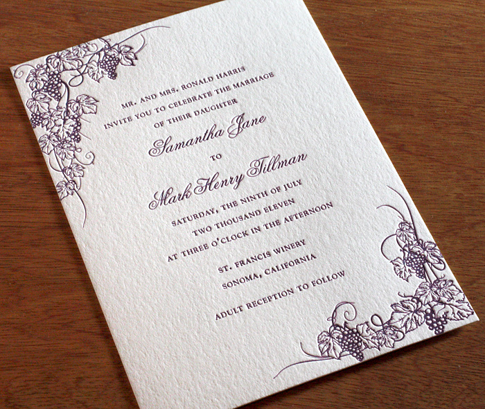 Exceptional Winery Destination Wedding Purple Letterpress Invitations