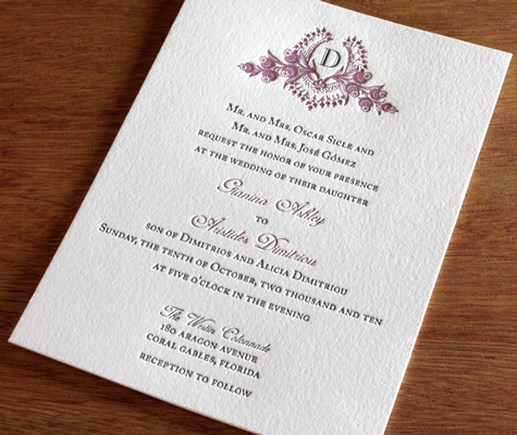 Wedding Invitations with Different FontsUnique Letterpress Wedding