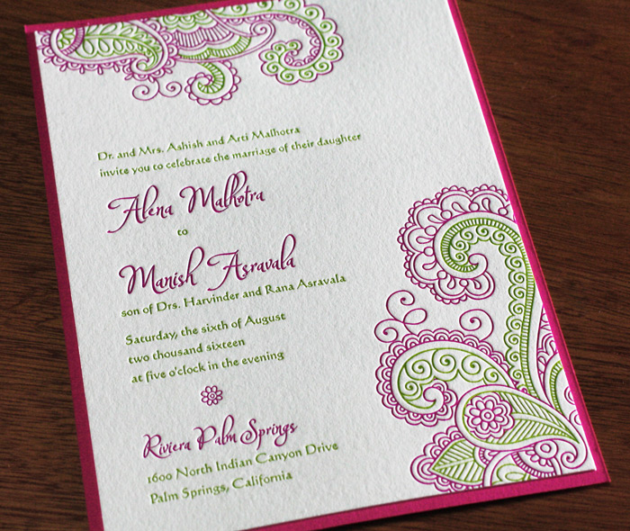 Indian letterpress wedding invitation gallery chandra pink green modern paisley indian wedding invitation with 2nd paper layer stopboris Choice Image