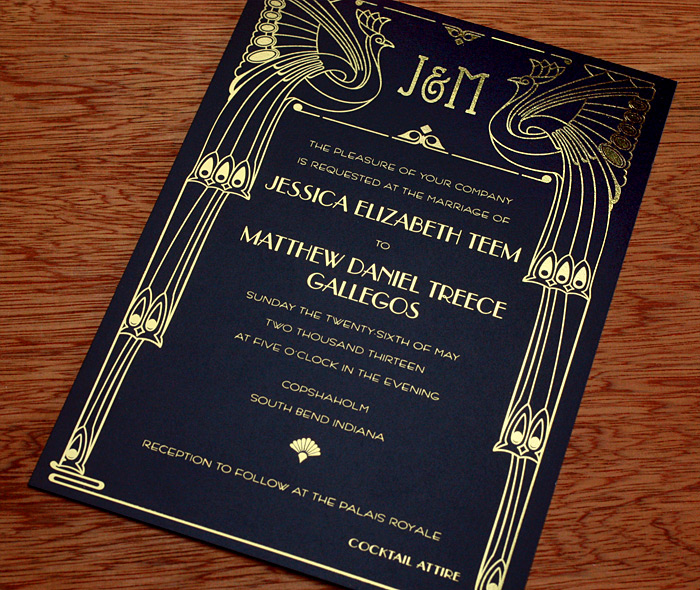 Art Deco Wedding Invitation Gallery Chicago Invitations by Ajalon