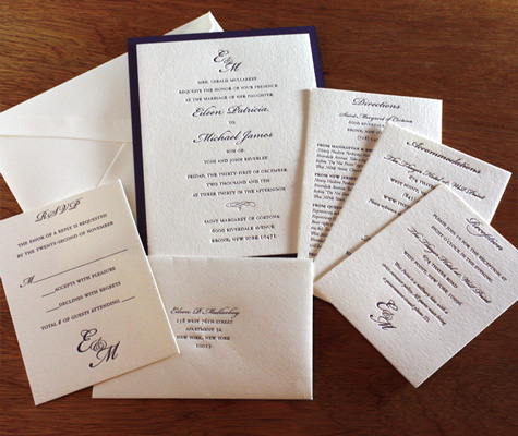 classic monogram letterpress wedding invitation suite