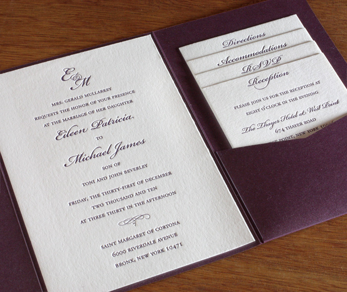 Tiered Letterpress Wedding Invitation Set In Pocket Folder