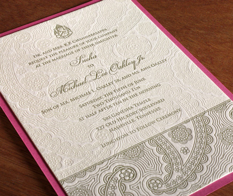 Devi Indian Wedding Card Letterpress Wedding Invitation with second paper layer