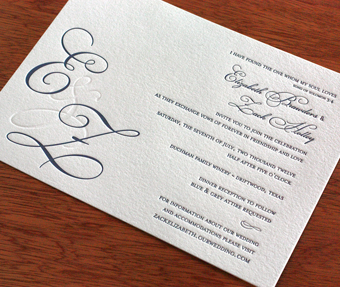Wedding invitation wording dress codes letterpress wedding elegant formal letterpress wedding invitation with bride and groom custom monogram and dress code wording junglespirit Gallery