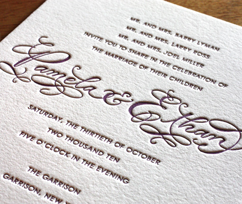 Emily Letterpress Wedding Invitation Wording