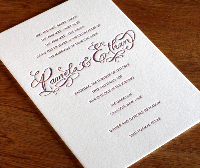 Calligraphy Letterpress Wedding Invitation Design Gallery Emily