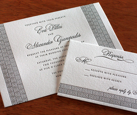 wedding invitation printed with black ink