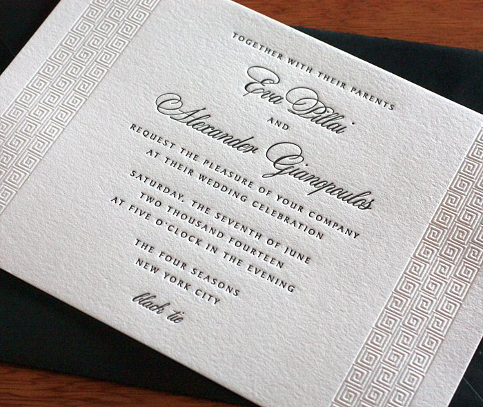 Classic letterpress wedding invitation gallery eva invitations elegant classic greek key on wedding invitation in black blind letterpress stopboris Choice Image