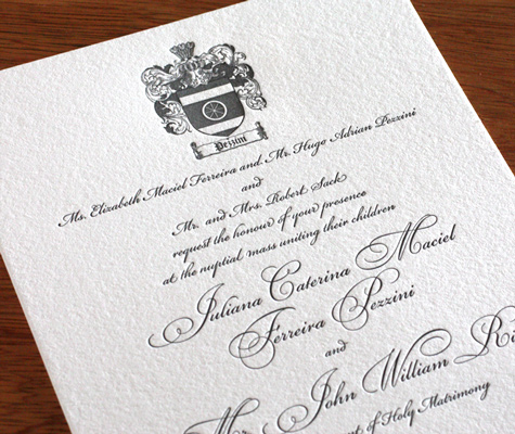 Family Crest formal wedding invitation wording