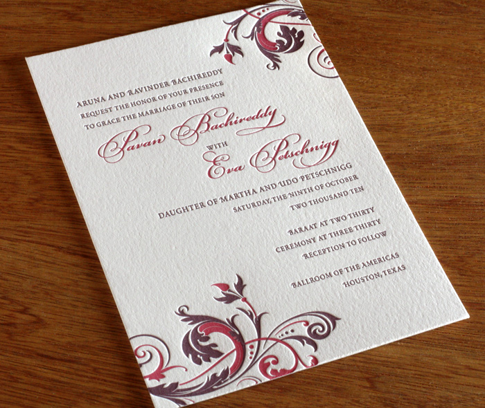 Wording your wedding invitations groom hosts letterpress wedding romantic floral vines on letterrpress wedding invitation with groom parents hosting wording filmwisefo