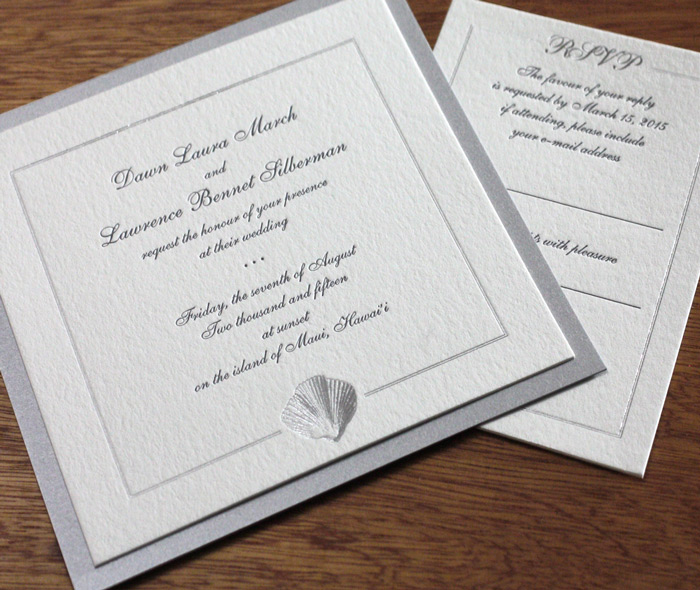 Elegant Square Beach Destination Wedding Invitation In Silver And Gray Letter Press Foilmounted On 2nd