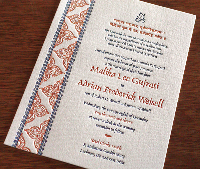 Letterpress Wedding Cards For Hindu Brides Letterpress Wedding