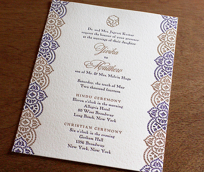 Indian Letterpress Wedding Invitation Gallery Jivika – Gold and Purple Wedding Invitations