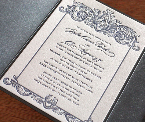 Keri baroque classic letterpress wedding invitation