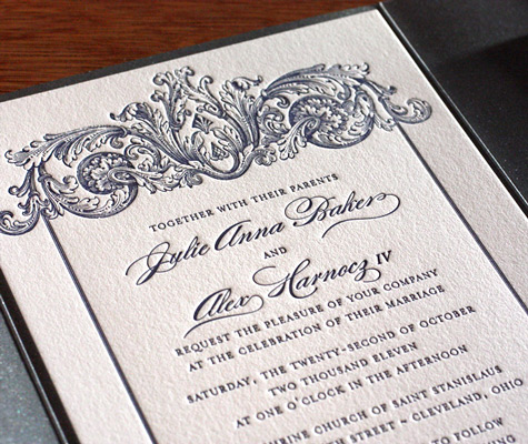 Keri baroque classic letterpress wedding invitation design