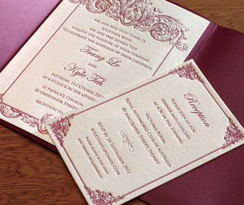 Keri classic baroque letterpress wedding invitation design