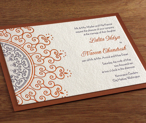Lalita Indian Letterpress Wedding Invitation Wording