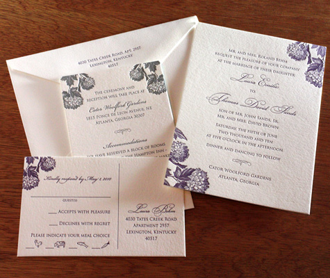 Laura letterpress wedding invitation design meal symbols