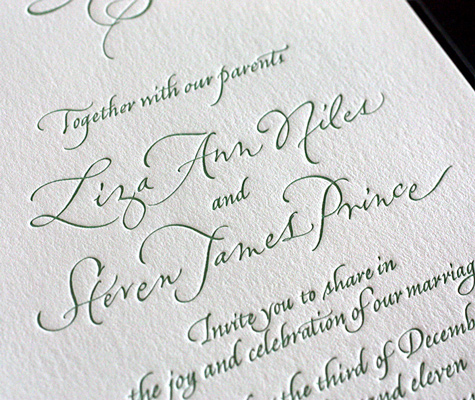 liza letterpress wedding invitation design wording