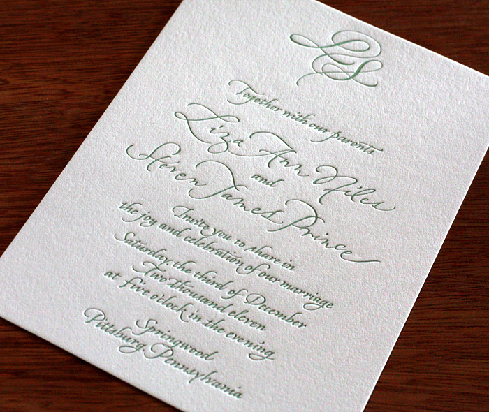 Calligraphy Letterpress Wedding Invitation Design Liza