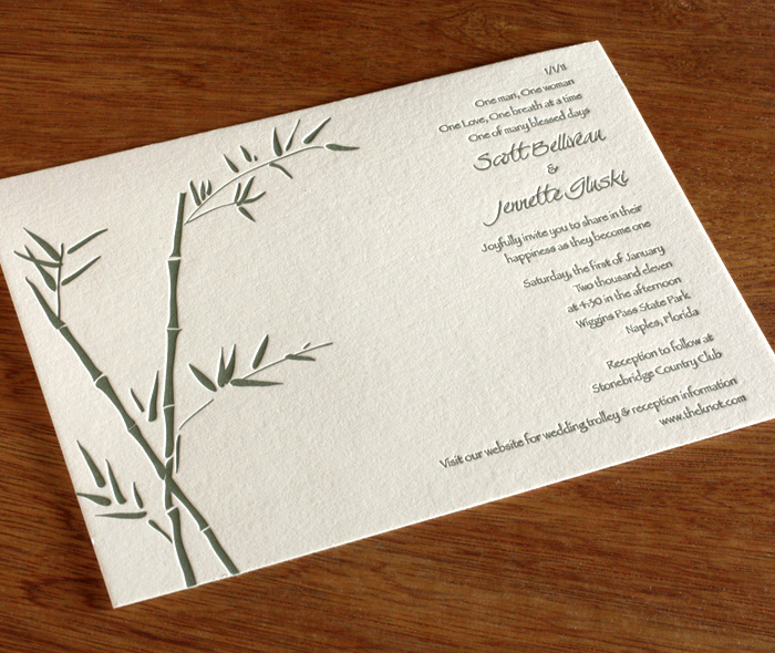 Bamboo letterpress wedding invitation gallery lucky bamboo bamboo themed multicultural japanese american letterpress winter wedding invite stopboris Image collections