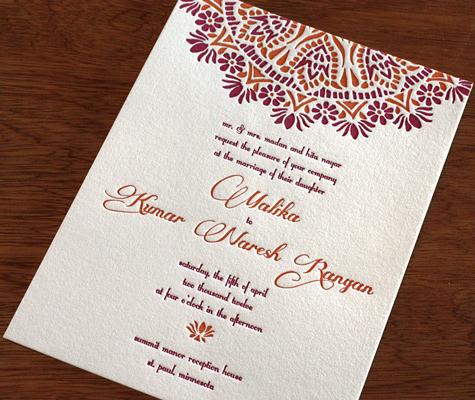 New Letterpress Indian Wedding Card Designs 3 New South