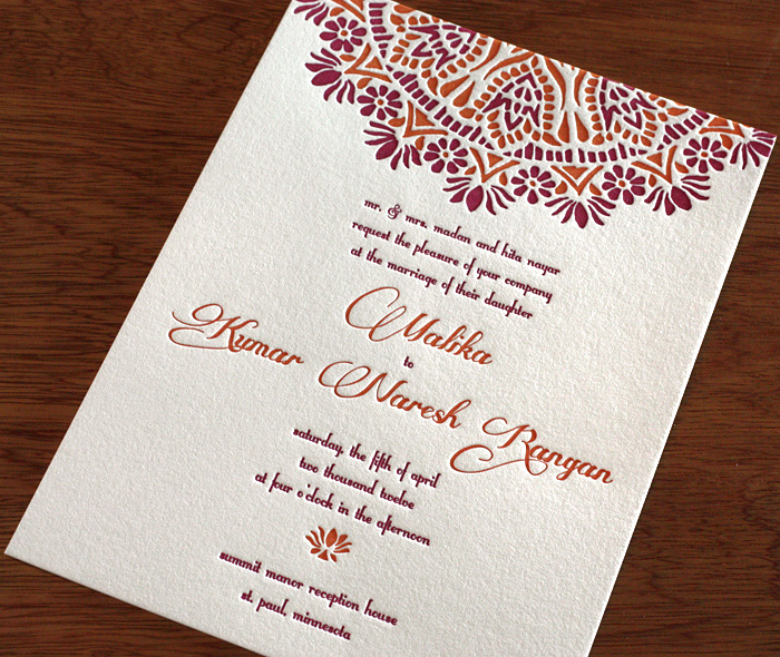 Elegant Indian Fl Mandala On Raspberry Orange Letterpress Wedding Invitation