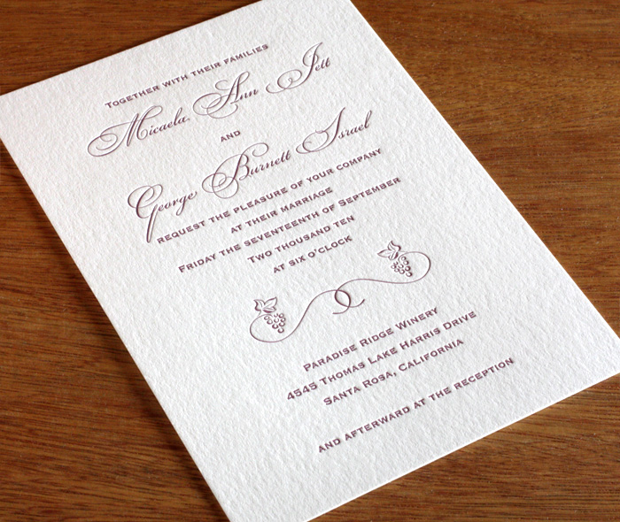 romantic winery wedding invitation with grape motif in purple letterpress - Winery Wedding Invitations