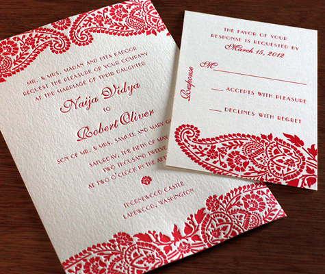 poppy red wedding invitation design